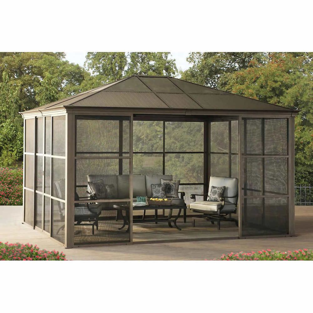 12 X 14 Hardtop Gazebo Metal Steel Aluminum Roof Post Outdoor For Patio Room Set 2 677 00end Date Feb 03 23 10buy Outdoor Pergola Hardtop Gazebo Patio Room