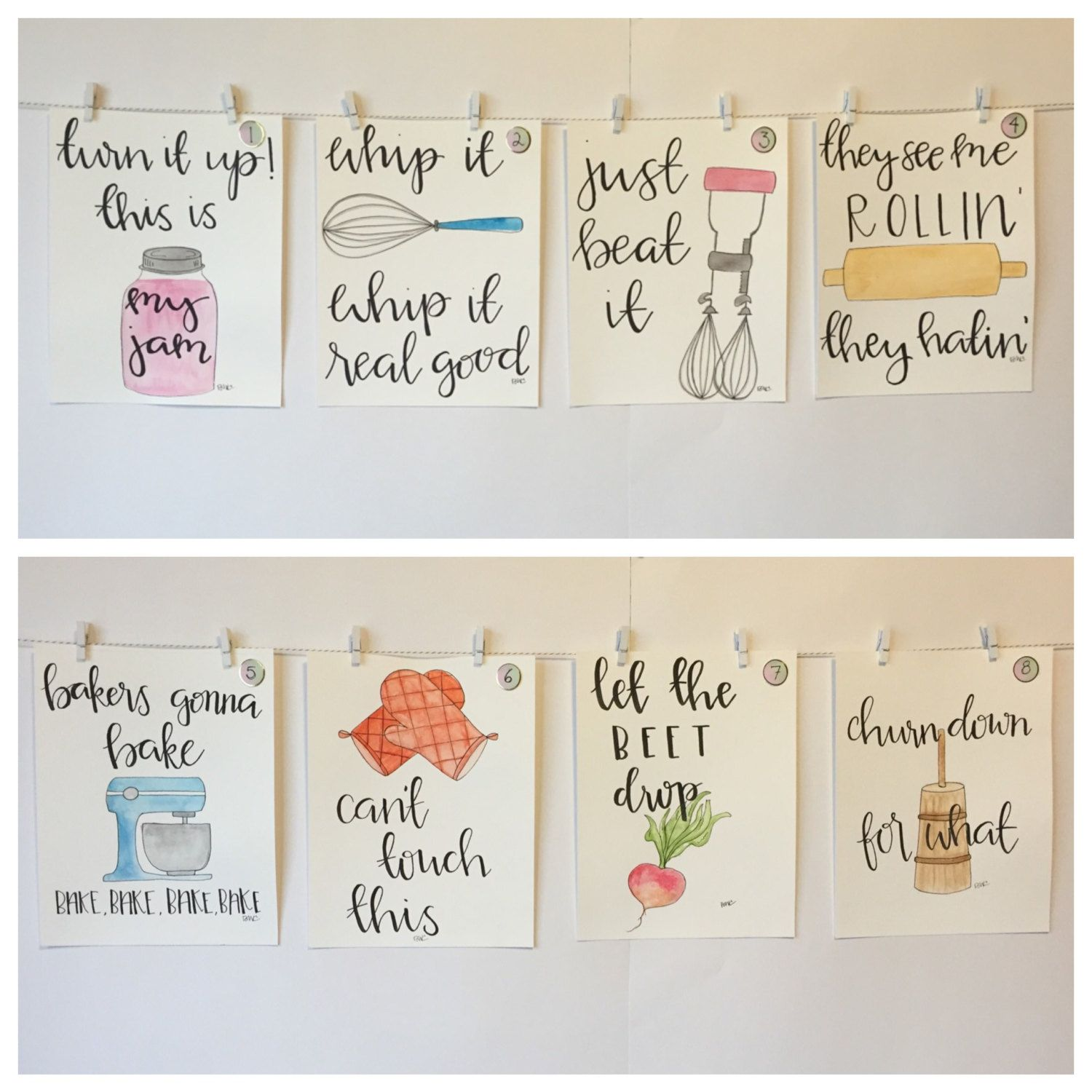 Kitchen Layout Notes: SET OF FOUR Watercolor Kitchen Puns Please Read By