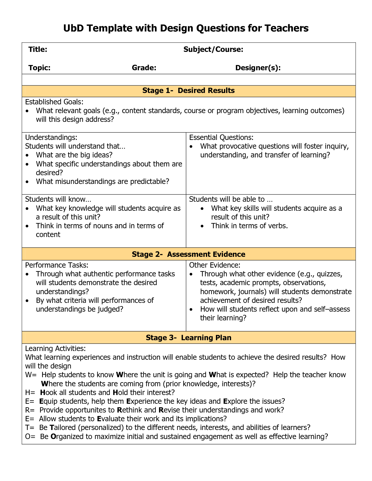Blank Ubd Template  Things For The Classroom