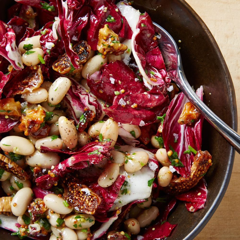 Radicchio Salad With Beans Figs And Walnuts Recipe Recipe Walnut Recipes Radicchio Salad Food Lover
