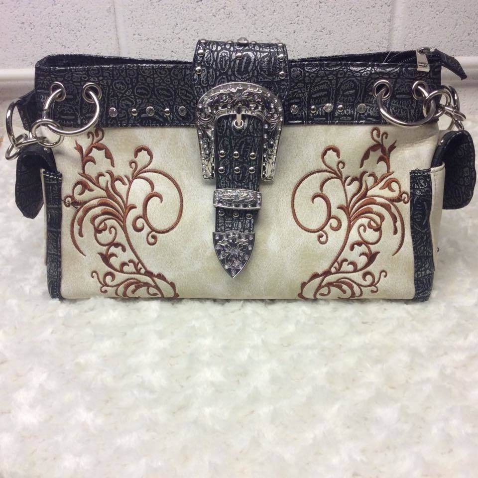 5e17c9fba19c Buckle Decorative w Embroidery Print Concealed Carry Handgun Shoulder Bag- Beige