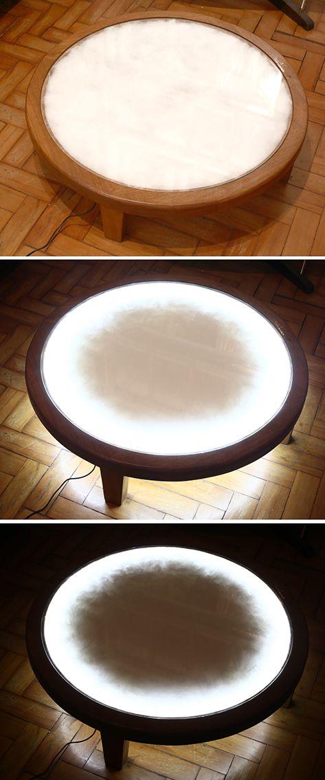 Mesa de centro Nuvem. Madeira e sanduíche de vidro com lã sintética com Led  www.designzero5.com   https://www.facebook.com/Design-Zero5-900721836697242/