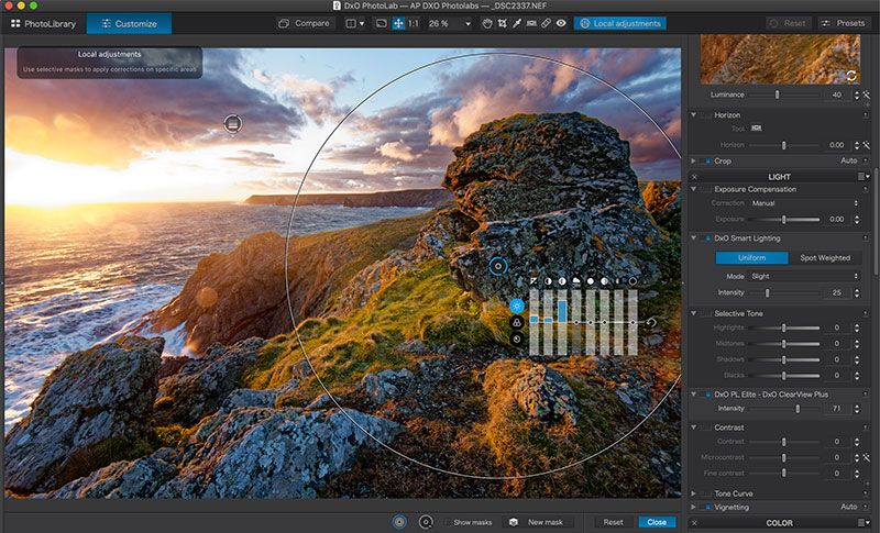 Ekran regulacji DxO PhotoLab 2 | Alternatywa Adobe | Image