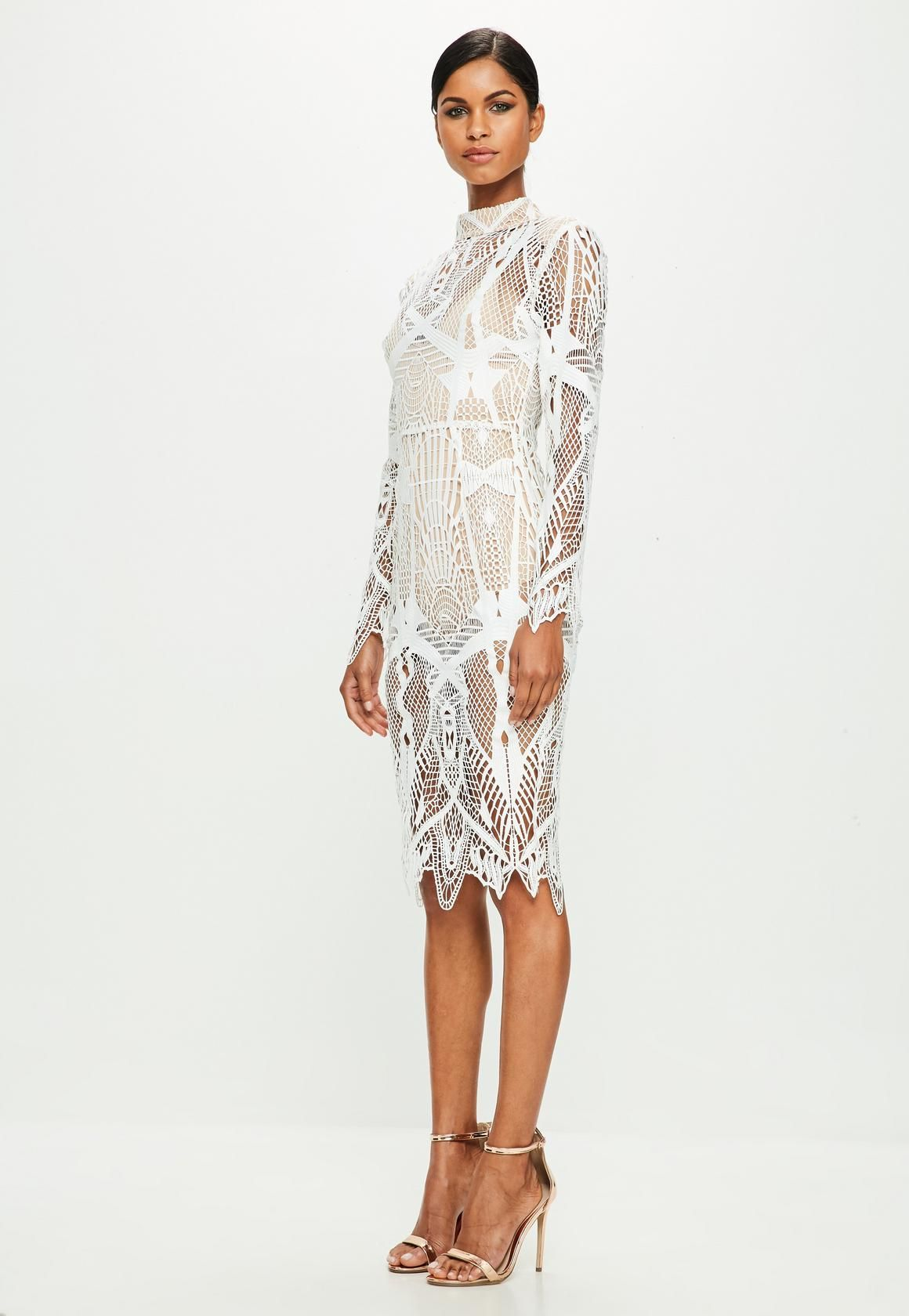 Peace + Love White Intricate Lace High Neck Midi Dress | Missguided ...