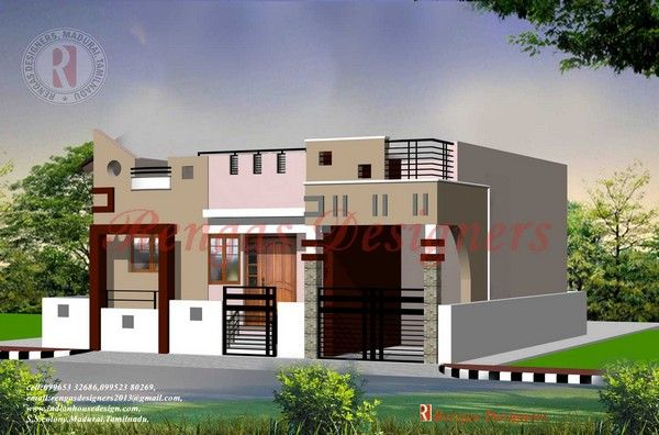 Single floor house designs tamil nadu gurus floor for Indian house front elevation photos for single house