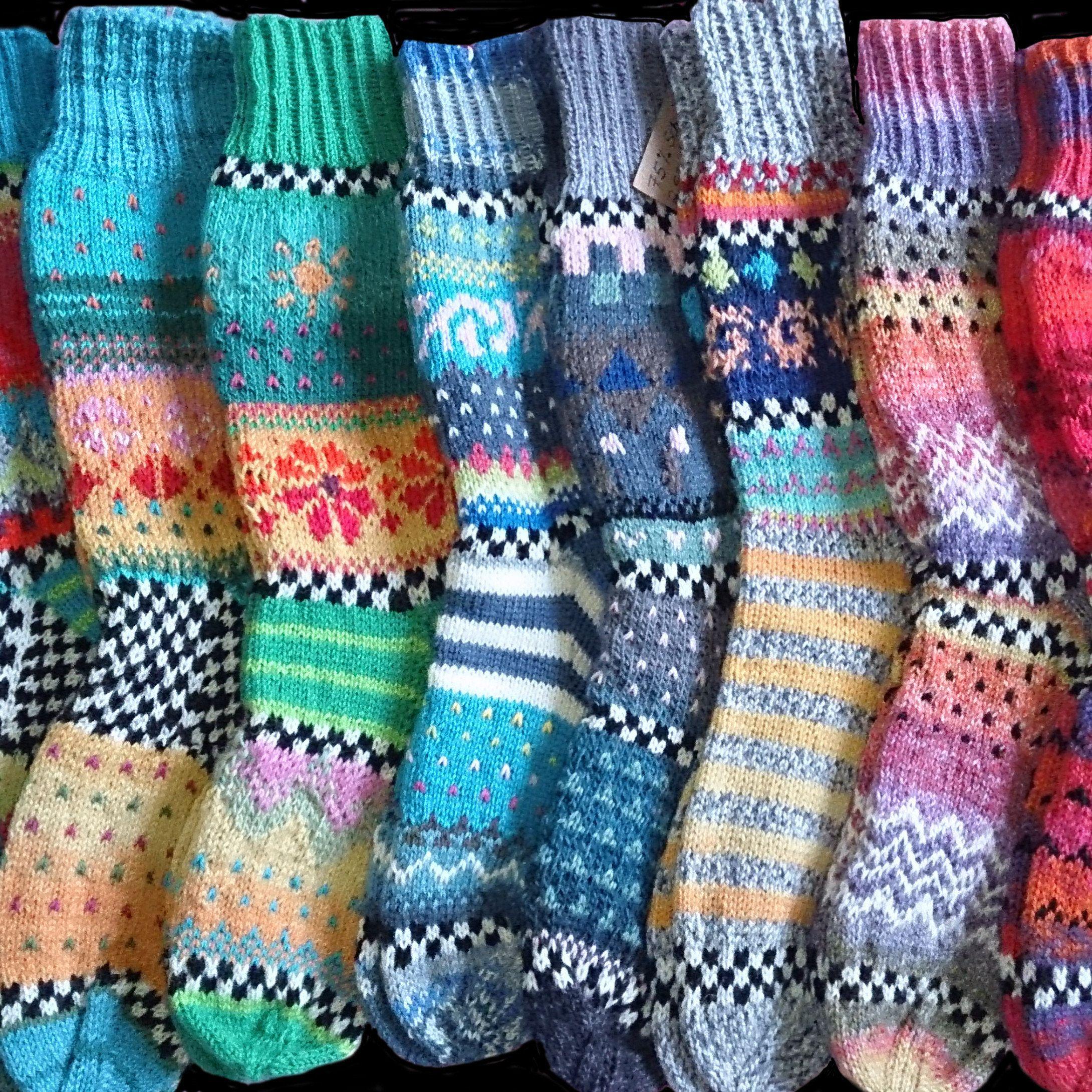 Photo of Fargerike sokker Størrelse 39/40 – Strikkede sokker i nordiske Fair Isle-mønstre