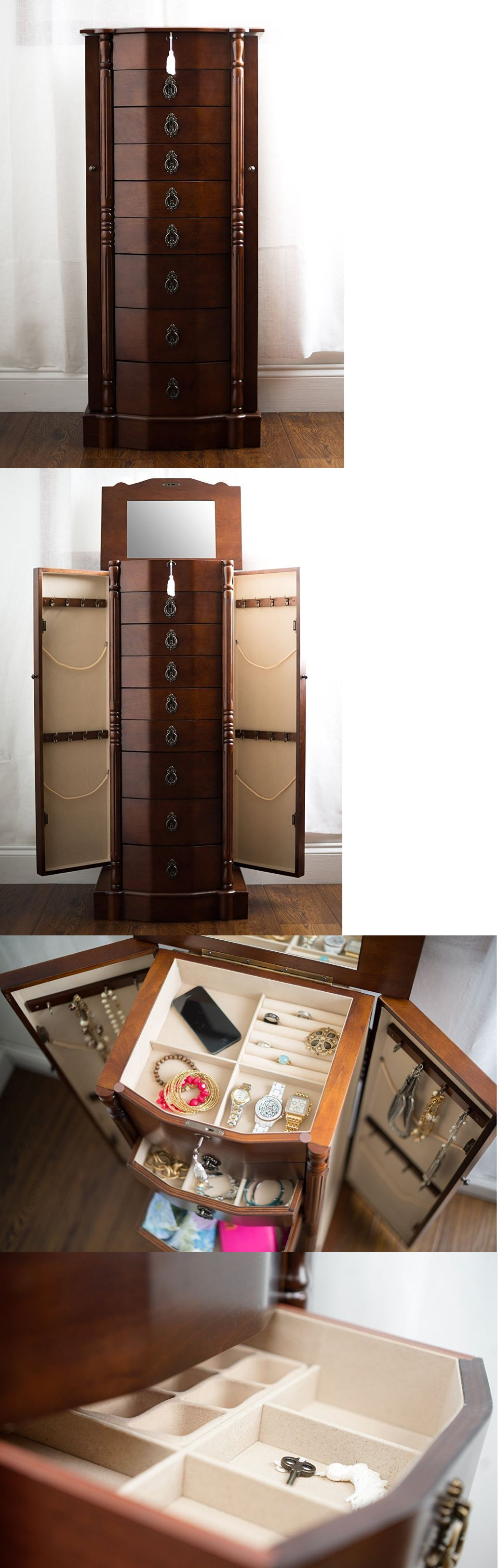 Jewelry Boxes 3820: Mirrored Jewelry Armoire Stand Up Box Tall Storage Stand Organizer Necklace Ring BUY IT NOW ONLY: $298.99