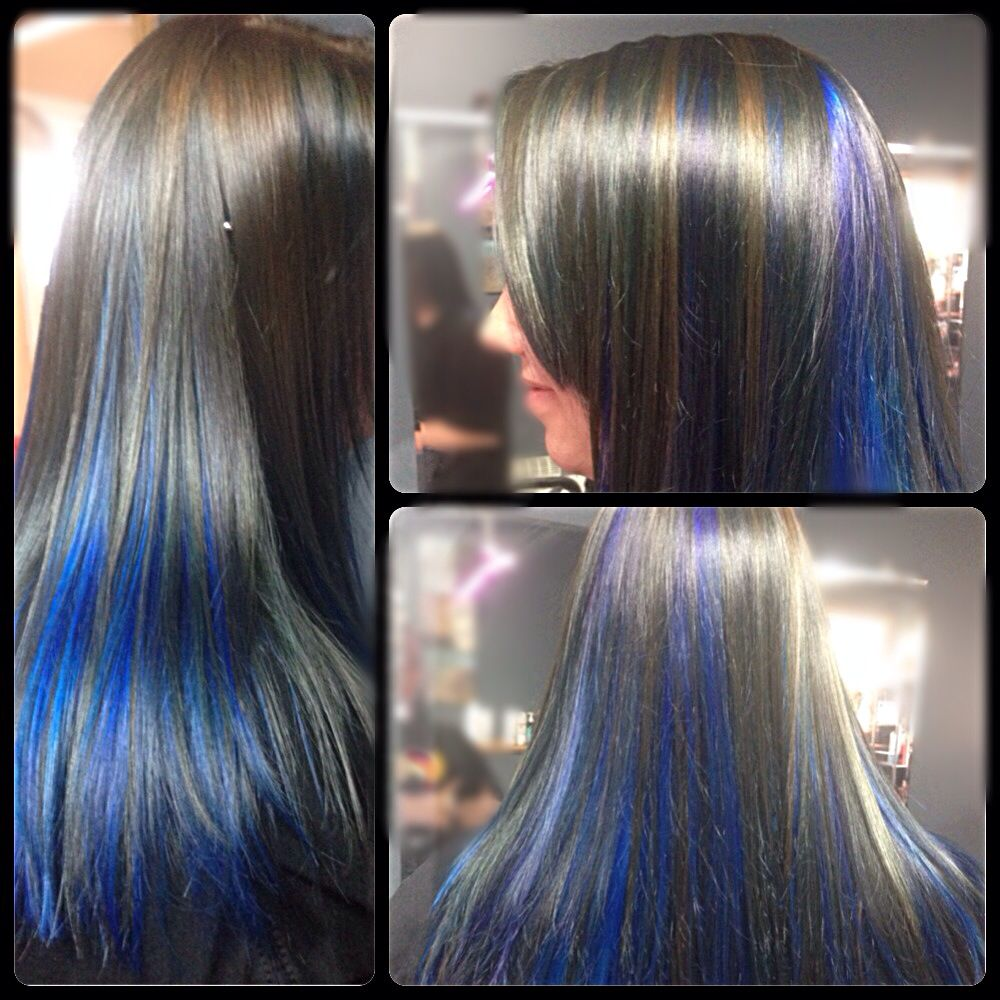Bright Blue Peekaboo Highlights With Light Brown Lowlights Hair