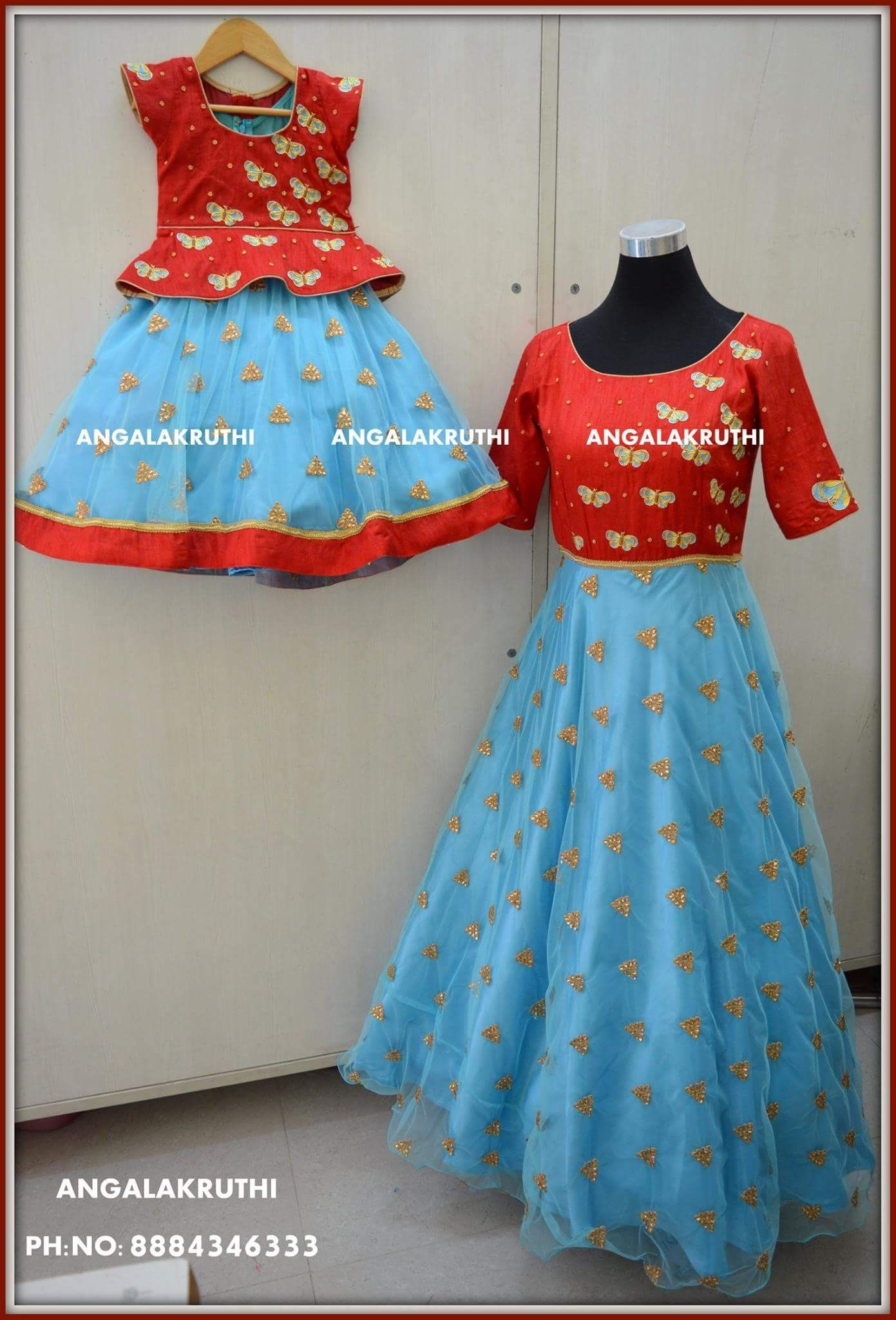 e765a0ea44 #Matching dress designs by Angalakruthi boutique Bangalore #Mom and Me dress  designs #Mother and daughter matching dress designs by Angalakrthi boutique  ...