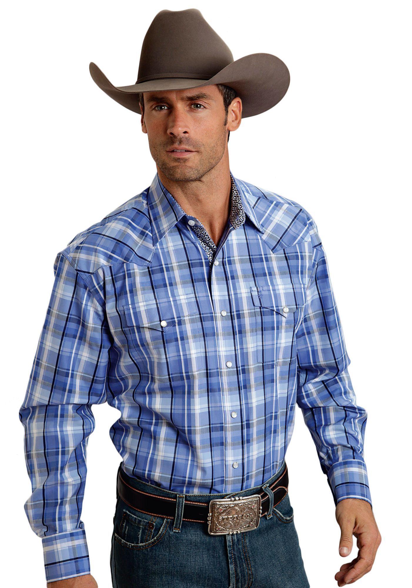 Stetson Mens Squared Off Plaid Flat Weave W/satin I - Blue Group Long Sleeve Shirt Snap Closure - 2 Pocket