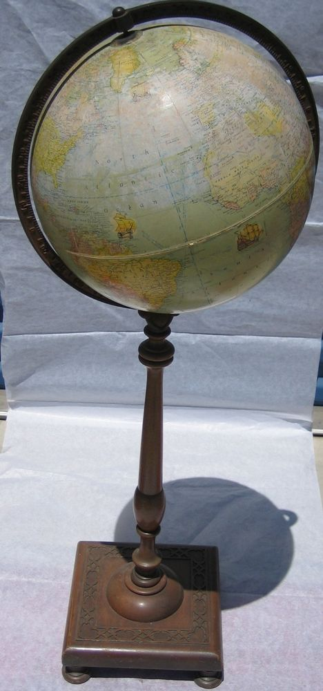 17595 vintage rand mcnally terrestrial world globe metal frame 17595 vintage rand mcnally terrestrial world globe metal frame wooden pedestal stand in antiques maps gumiabroncs Image collections