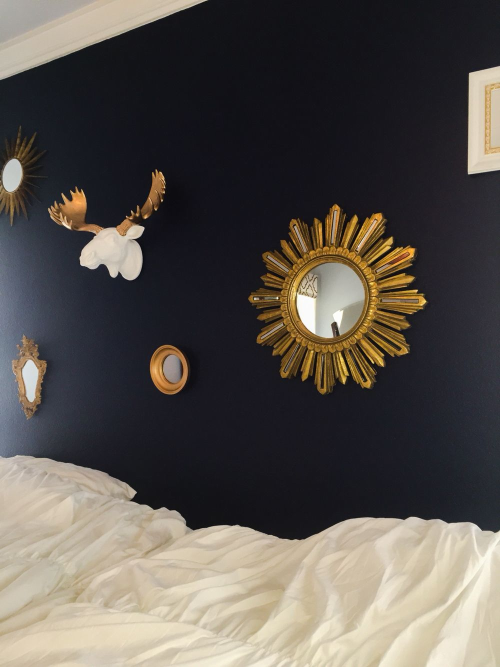 Valspar Indigo Streamer Paint With White And Gold Accents Moose Head Gold Mirrors Dark Blue Bedroom Dark Blue Paint Color Valspar Colors Dark Blue Bedrooms