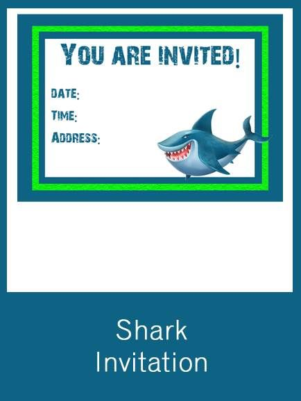 Shark Invitation Free Pdf Download Party Shark Pinterest
