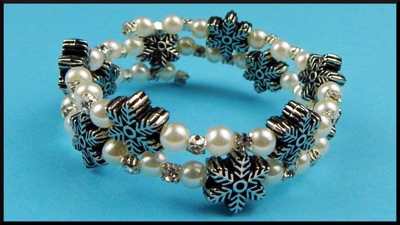 Pandora Charms Weihnachten.Diy Beaded Memory Wire Snowflake Bracelet Christmas