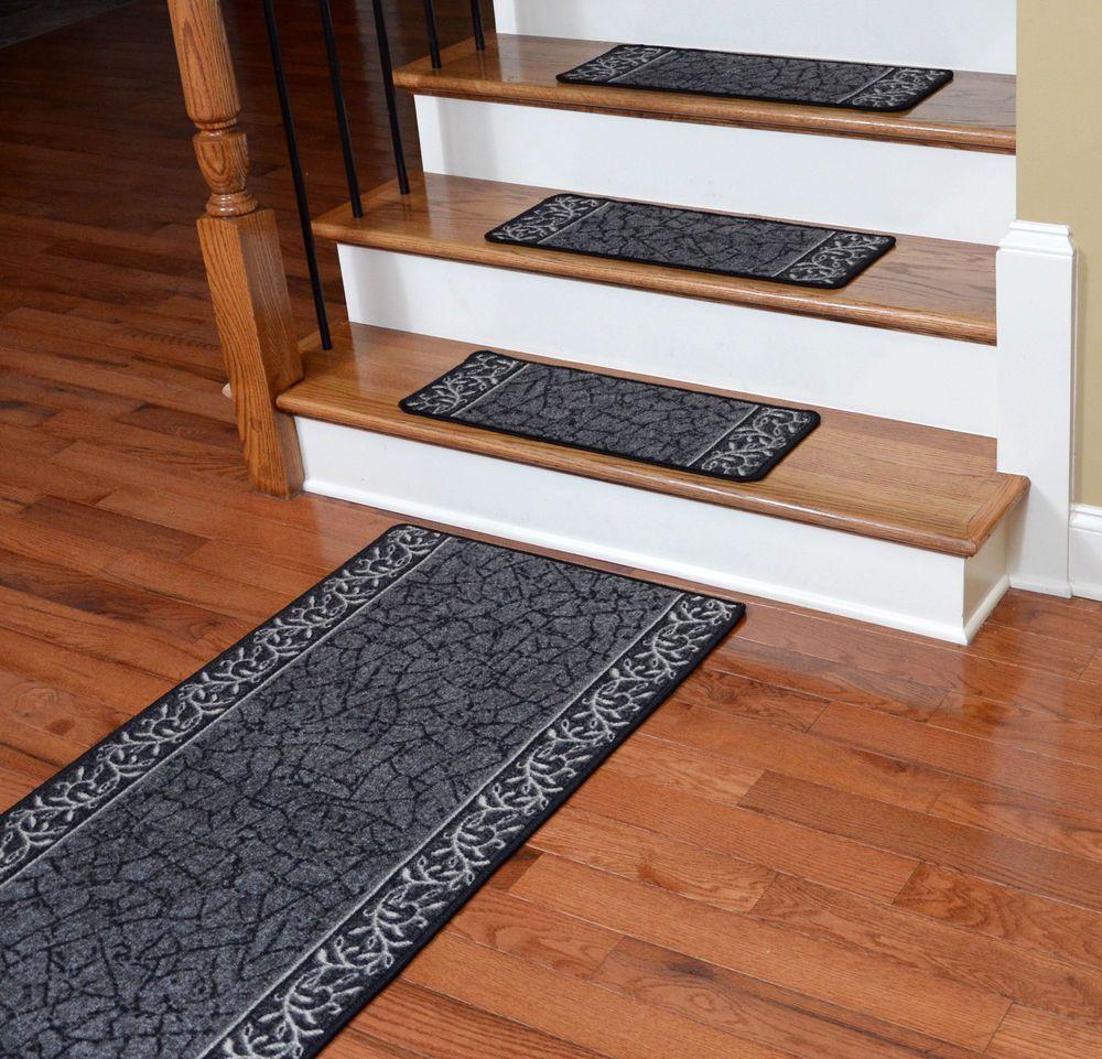 Dean Washable Non Skid Carpet Stair Treads W/Landing Runner   Garden Path  Black
