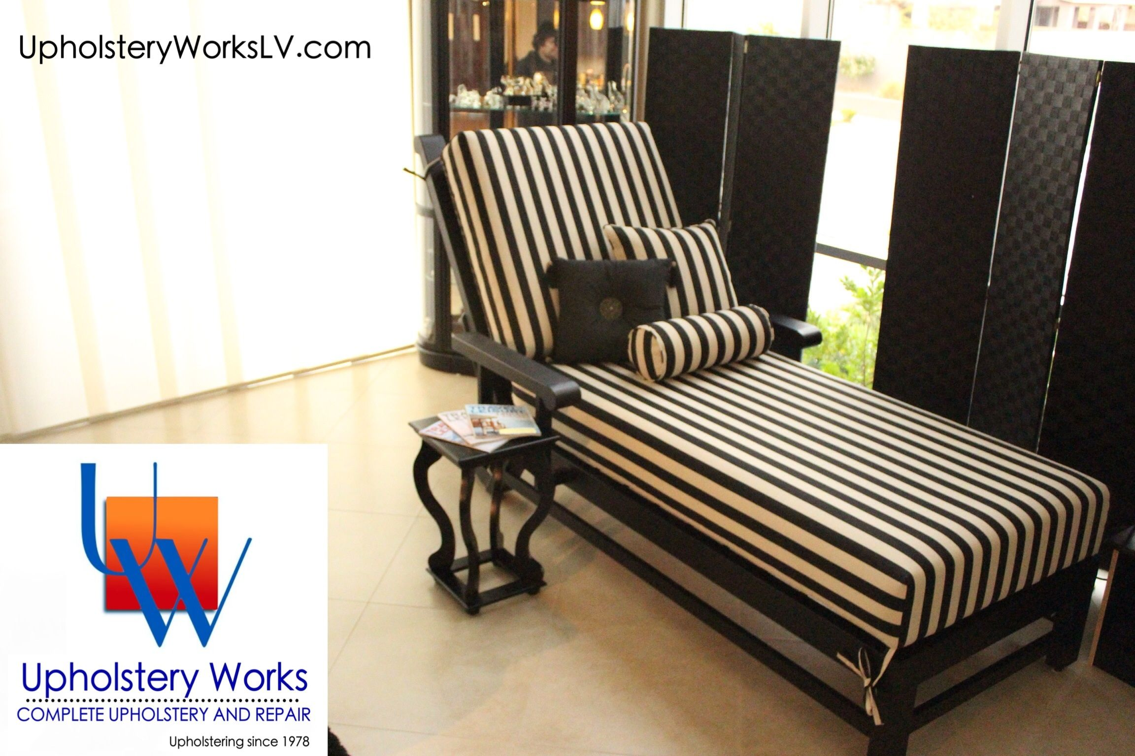Striped chaise lounge by Upholstery Works. Las Vegas, NV http://www.UpholsteryWorksLV.com
