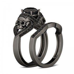 Round Cut Black Diamond Rhodium Plating Sterling Silver Skull Ring