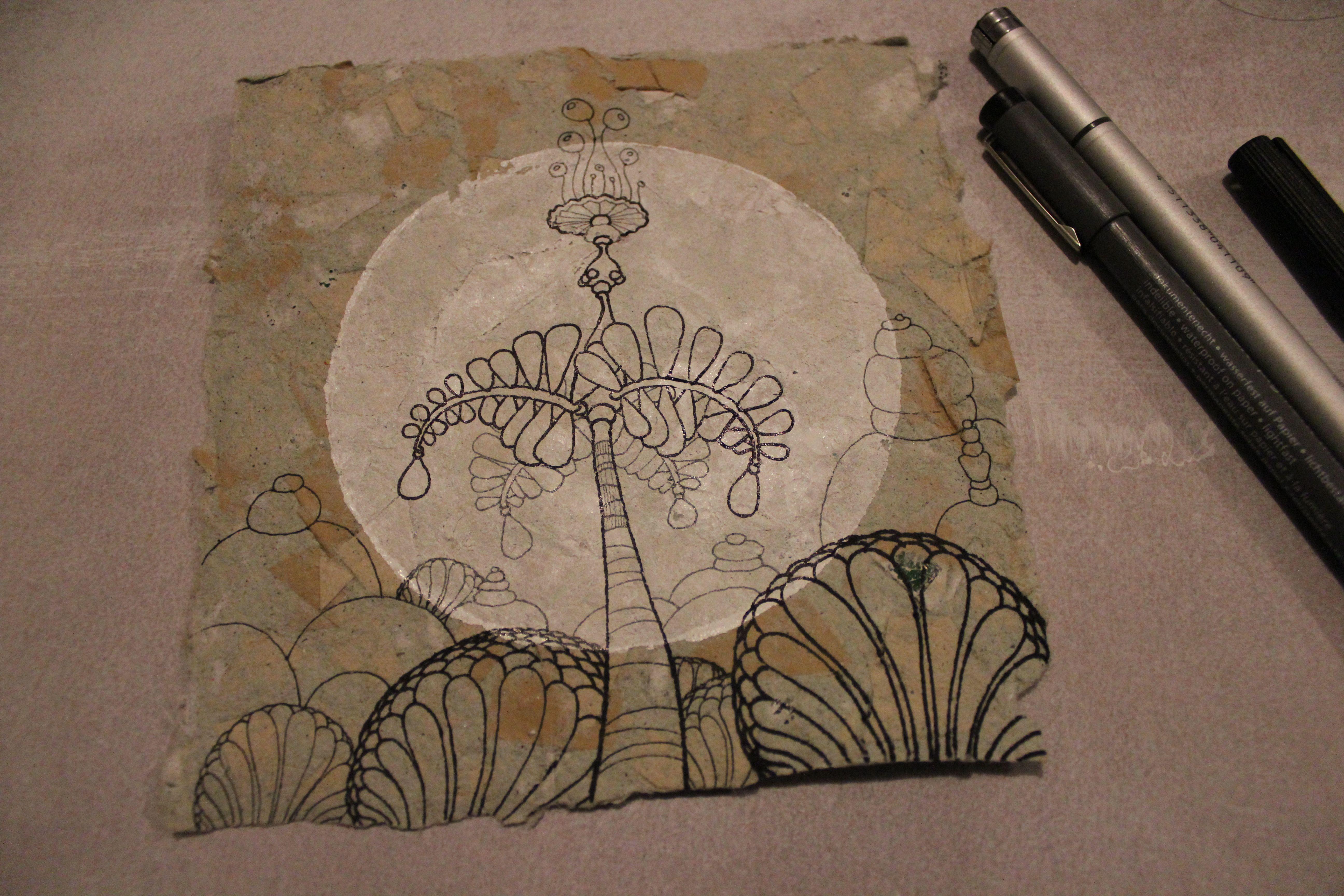 drawing on handmade paper www.denisefort.co