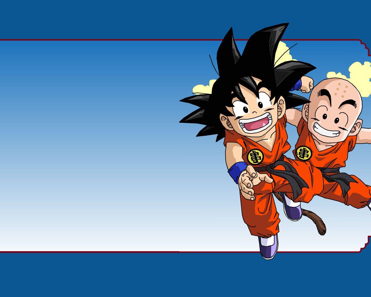 Dragon ball kid goku and kid krillin anime wallpapers for Fond ecran goku
