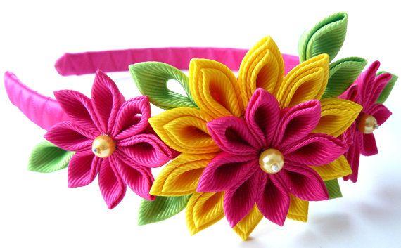 diadema de tela flor kanzashi fucsia amarillo y verde - Diademas De Tela