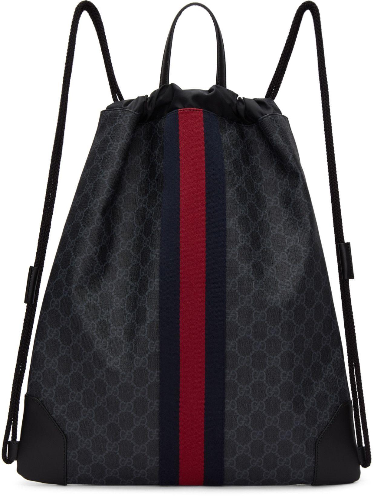 1c0ede1d190c0d Gucci - Black GG Supreme Drawstring Backpack | Bags | Bags ...