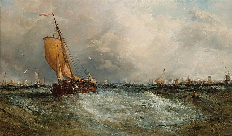 """JAMES WEBB  British (1825-1895)  """"Near Dordrecht""""  oil on canvas, signed lower left and dated 1878.  30 x 50"""