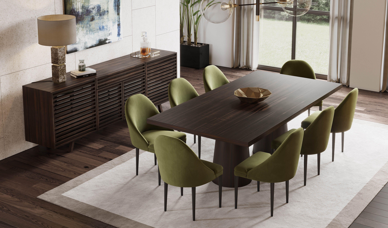 Modern Dining Room Decor Deep Green Dining Chairs Dark Wood