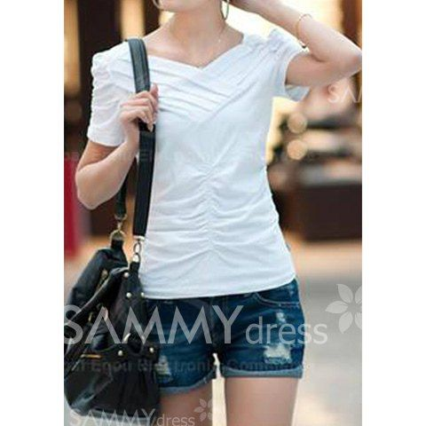 $4.96 Sweet and Charming V-Neck Ruffle Embellished Solid Color Puff Short Sleeve Cotton T-Shirt For Women