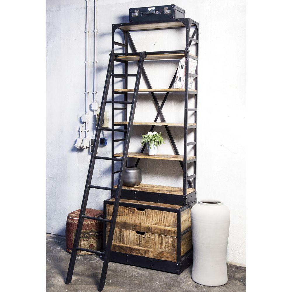 Top Bibliothek Schrank B 85 cm mit Leiter Metall Holz Auswahl: 1 x  WK76