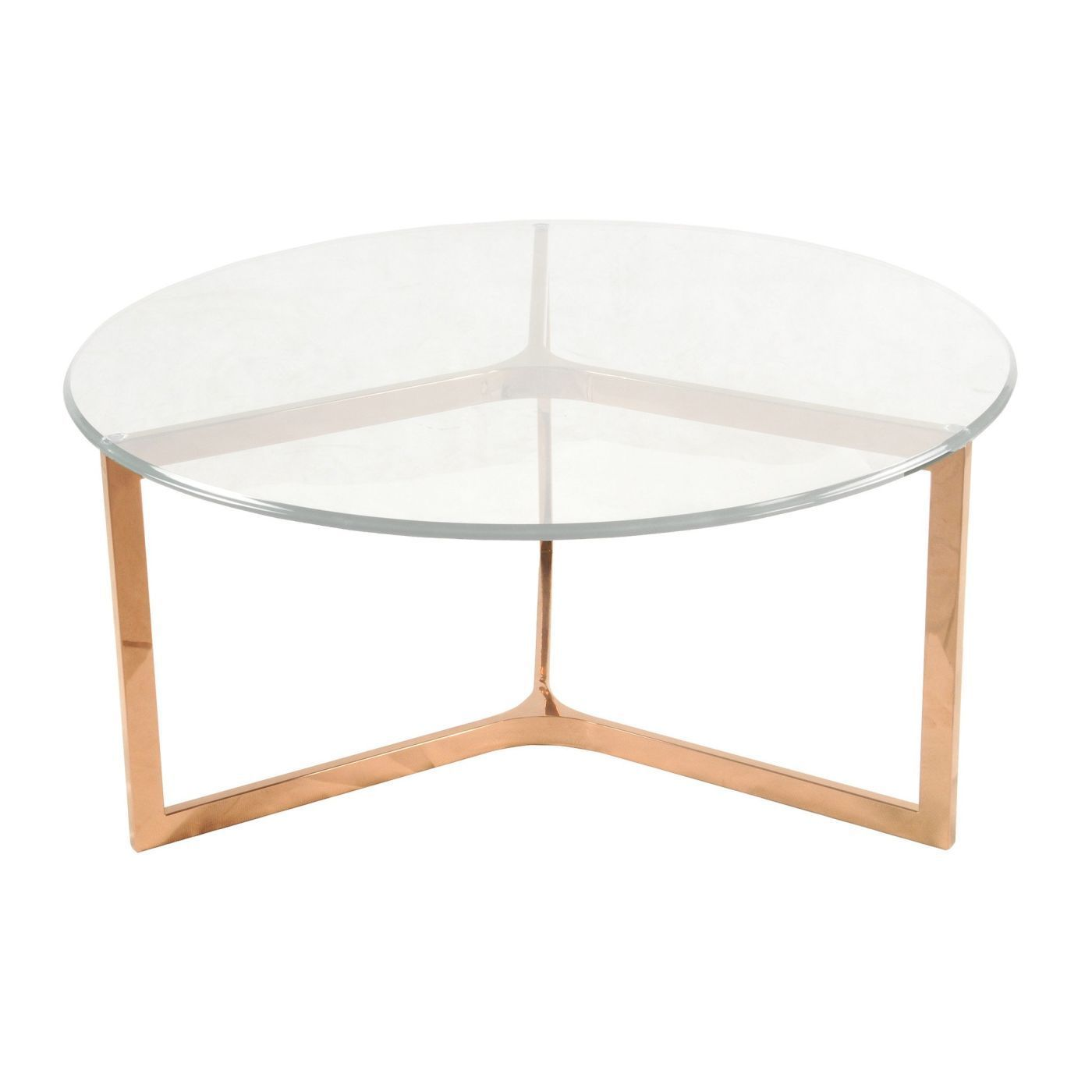 monza round coffee table glass top rose gold products