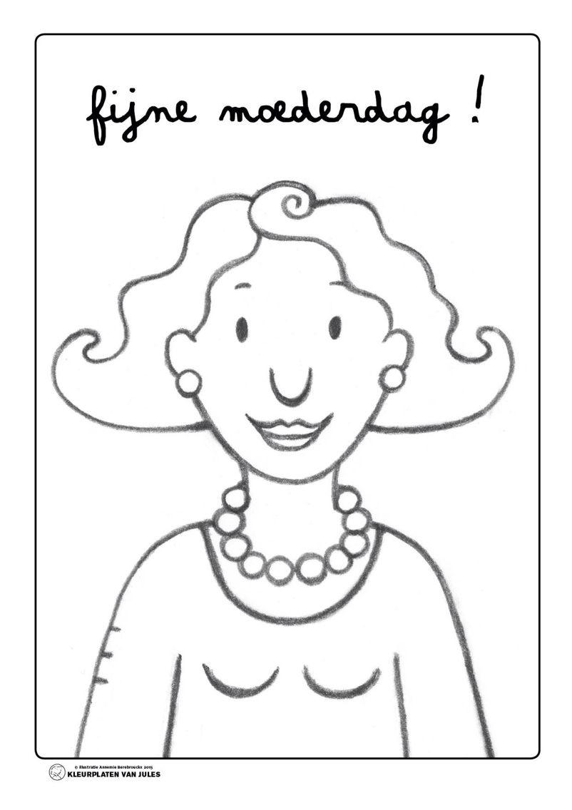 Kleurplaat mama Jules | Moederdag, Moederdagideeën, Knutselidee ...