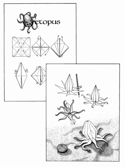 Instructional Drawings For An Origami Octopus Art