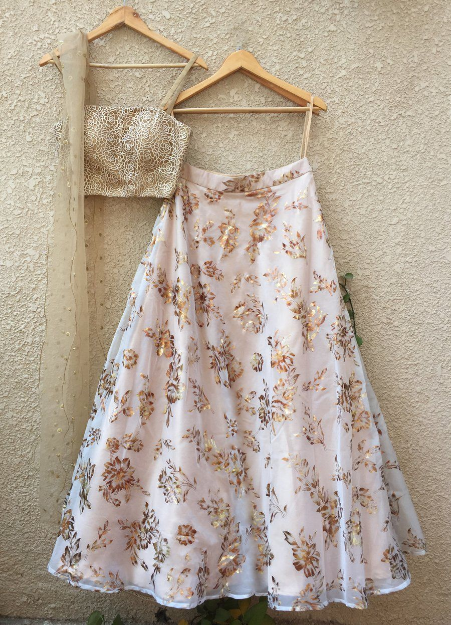 2af4c04f0 Peach metallic foil print cut out blouse teamed with peach tulle skirt  (with cancan included