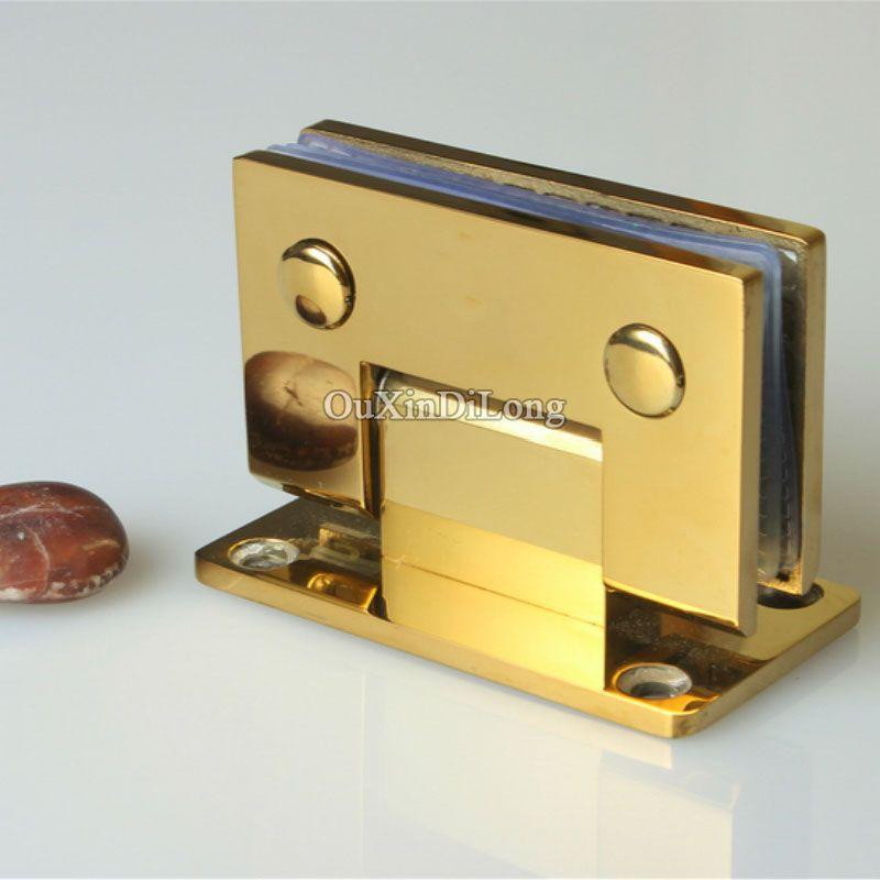 Hot 2pcs Stainless Steel Titanium Gold Frameless Shower Glass Door