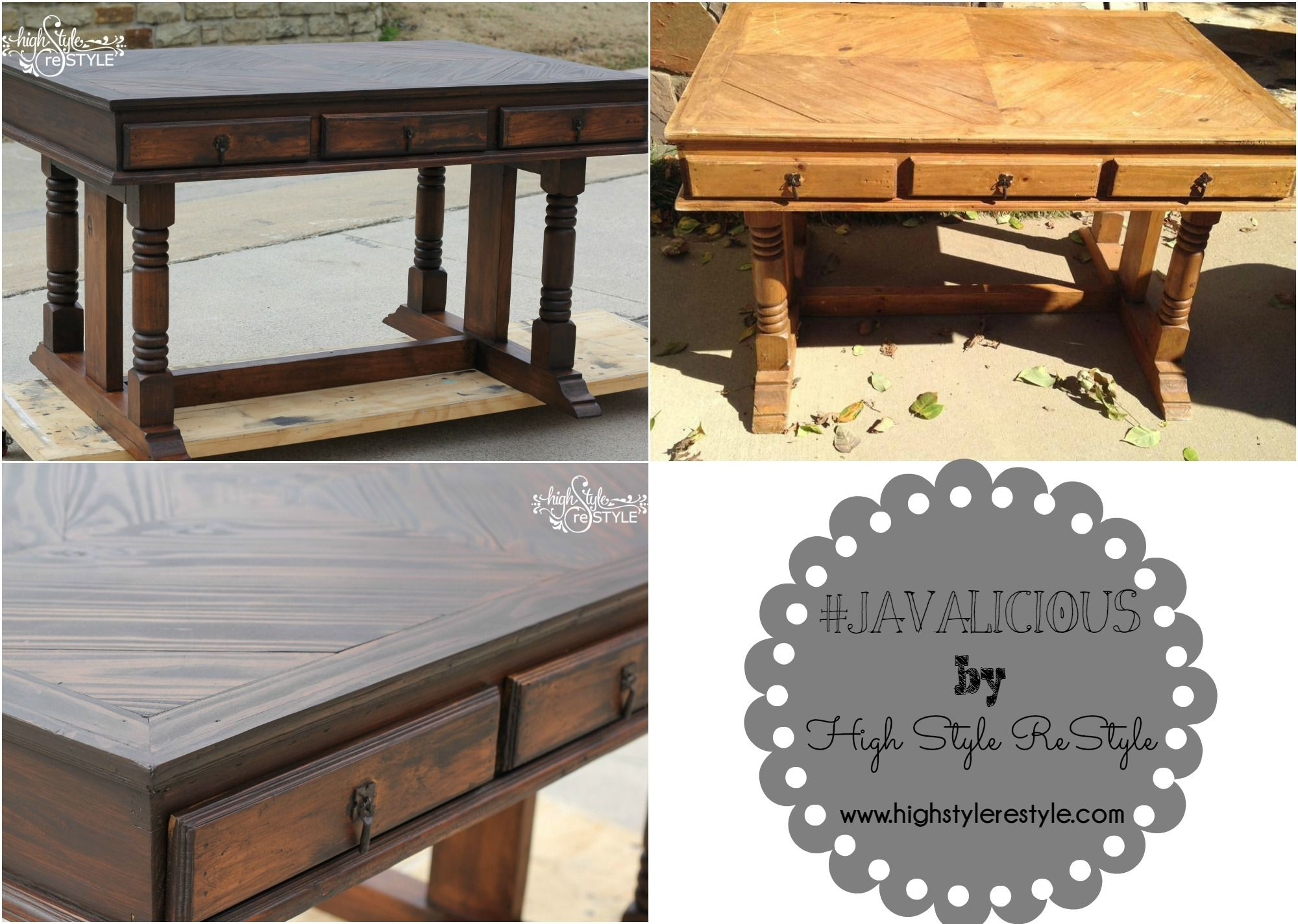 #GeneralFinishes #javagel  Trestle desk makeover with General Finishes java gel stain.    To see more of our restyles, follow us on Facebook at https://www.facebook.com/pages/High-Style-Restyle/296597457120303?fref=ts  http://www.highstylerestyle.com/