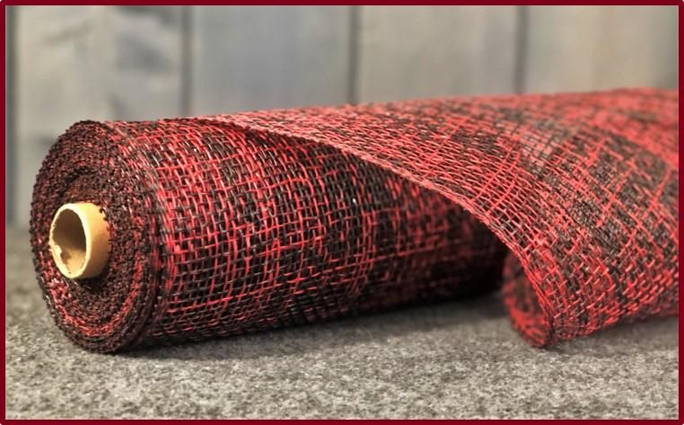 Poly Burlap Mesh Two Tone Black Red 10 X 10 Yards Black And Red Burlap Wreath Making Supplies