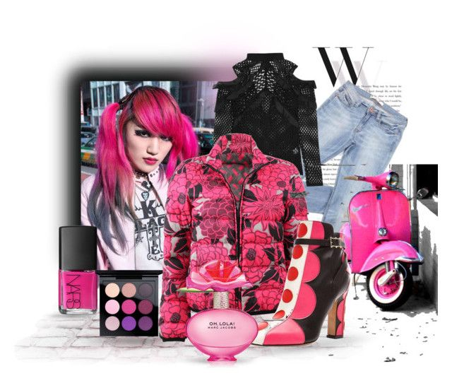 """""""Pink Puff"""" by neverboring ❤ liked on Polyvore featuring Balenciaga, Demonia, self-portrait, Etro, NARS Cosmetics, MAC Cosmetics and Marc Jacobs"""