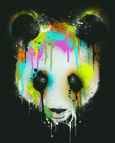 Charming Technicolour Panda Art Print