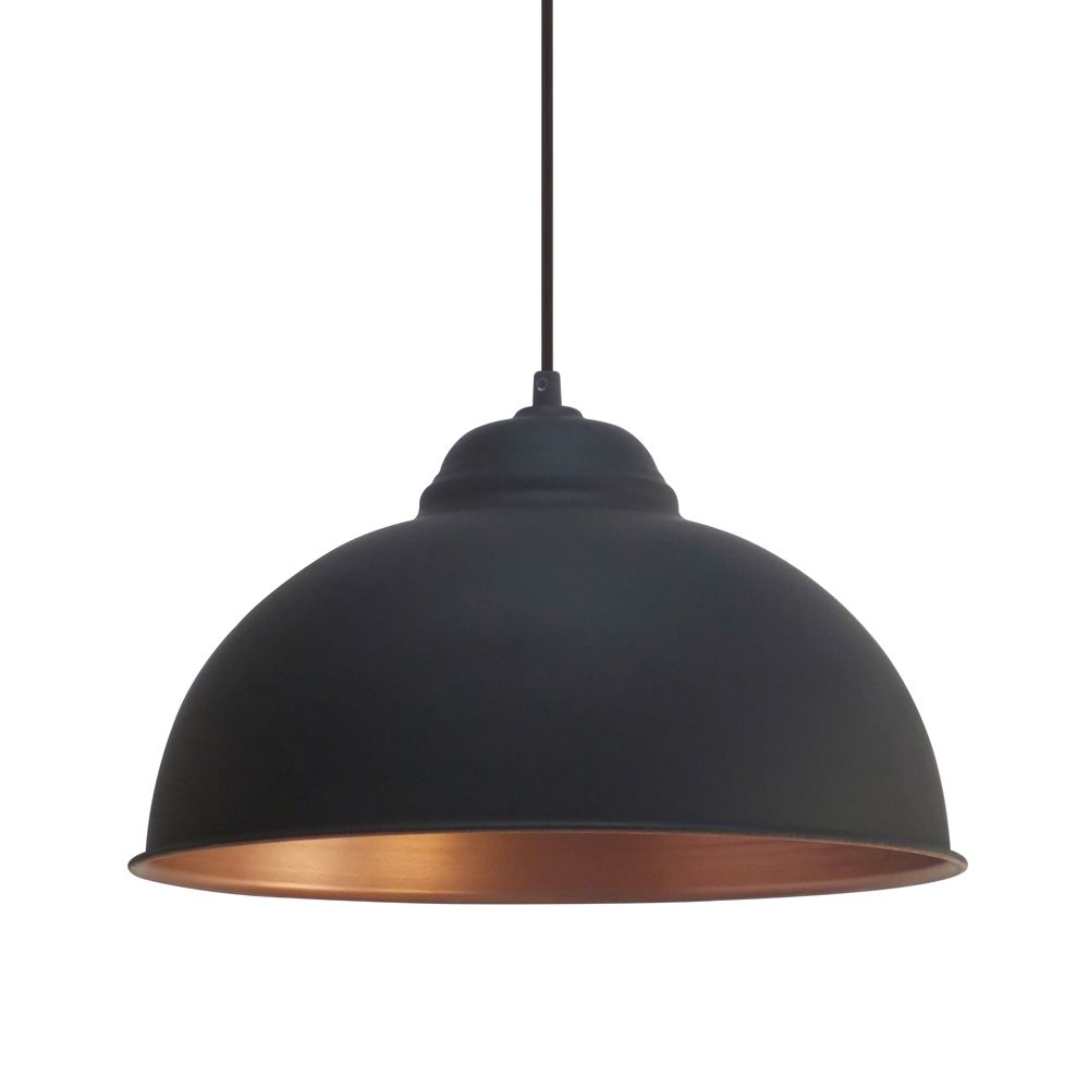 Eglo Vintage Black And Copper Pendant Breakfast Bar - Black hanging kitchen lights