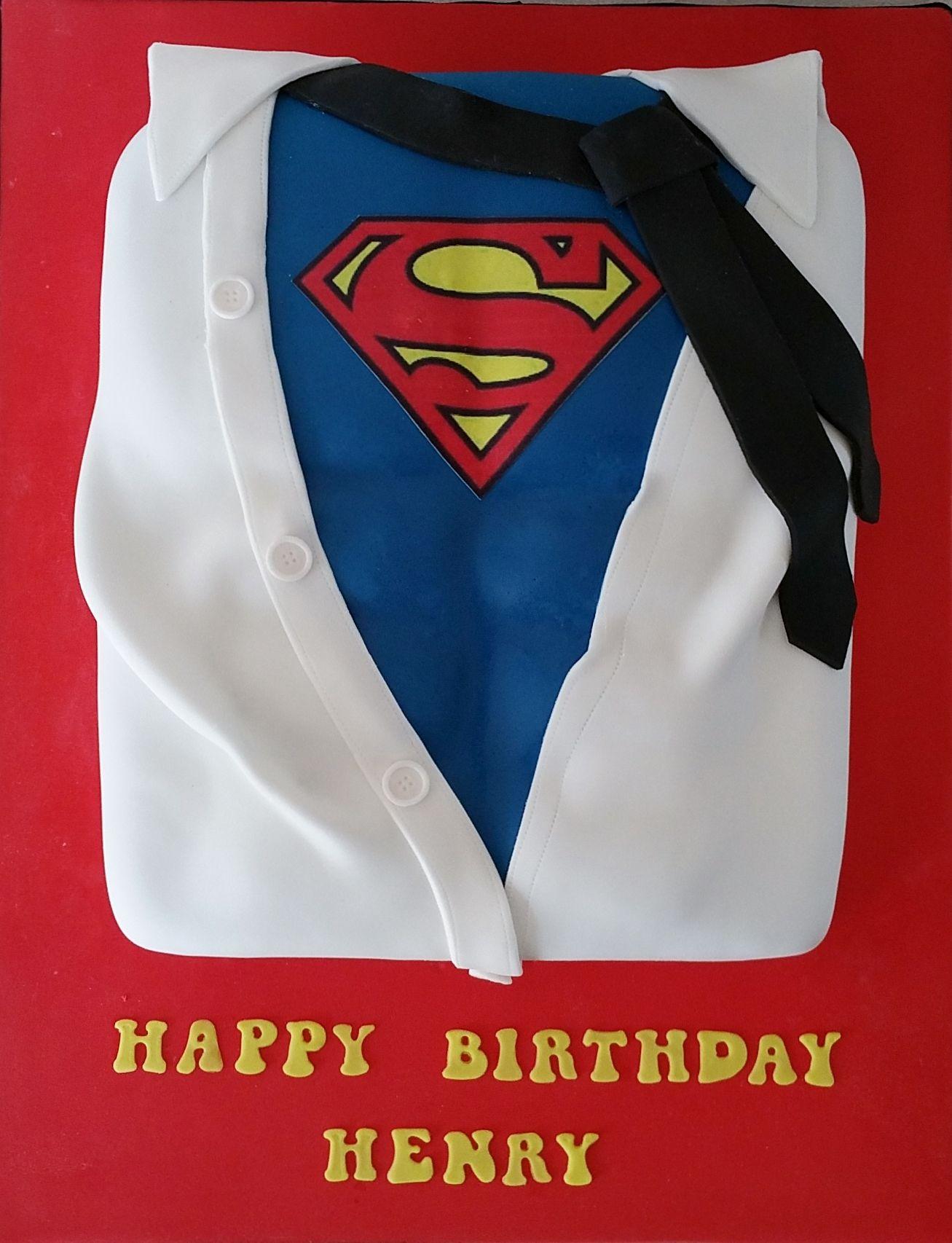 Superman  Clark Kent Shirt Cake Superhero Gift Ideas - Birthday cake shirt