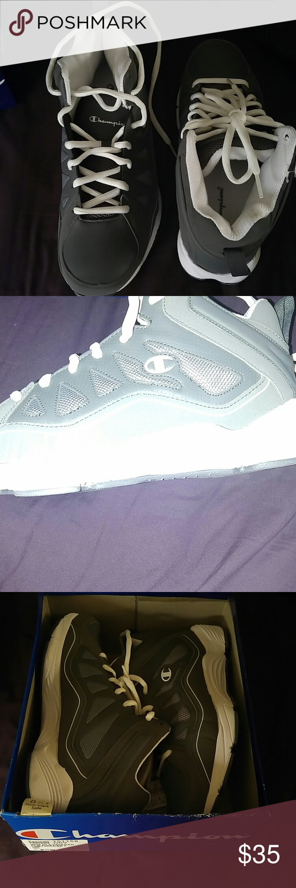 6e8508047a531 👟Champion Men s WW Playmaker Shoes 8.5W Grey and white 8.5 wide basketball  shoes NWT and box. Champion Shoes Athletic Shoes