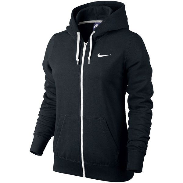 Nike Club Fleece Full-Zip Hoodie Black (€44) ❤ liked on Polyvore featuring activewear, activewear tops, jackets, nike, outerwear, nike sportswear and nike activewear
