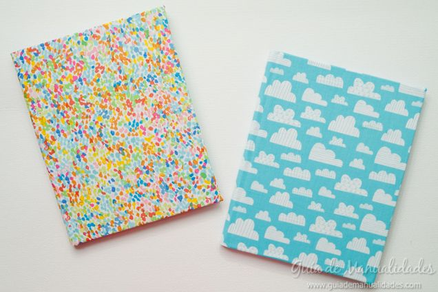 Cuadernos decorados con tela en minutos - Guía de MANUALIDADES