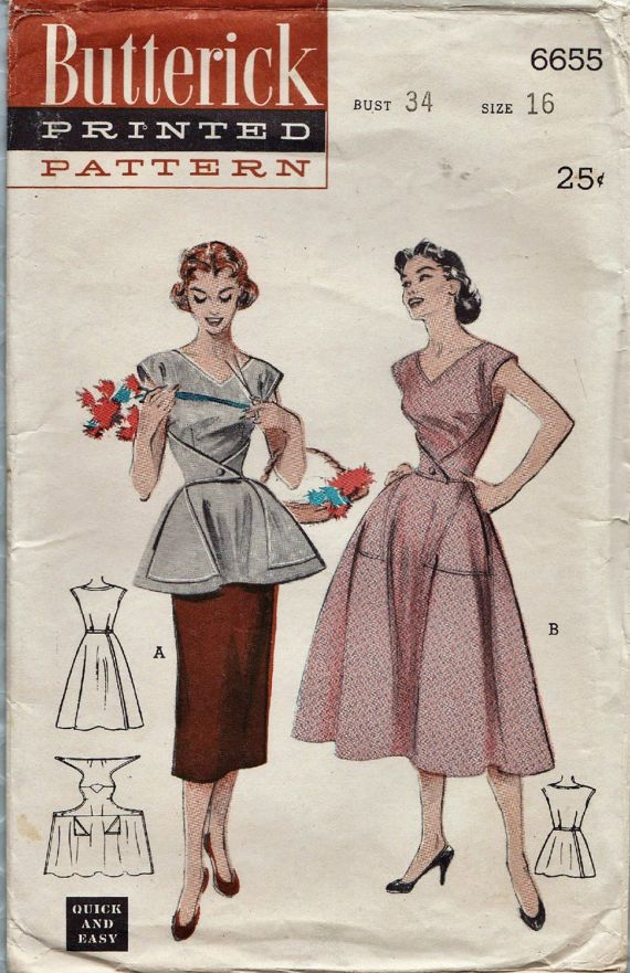 Butterick 6655 / Vintage 50s Sewing Pattern / Wrap Dress Apron ...