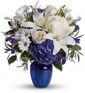 Blue Hydrangea Yellow Roses White And Yellow Daisies No