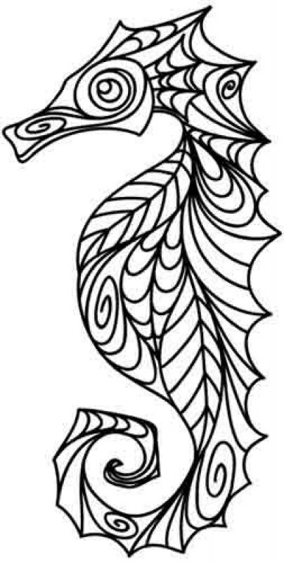 Advanced doodle of Seahorse difficult coloring pages for adults ...