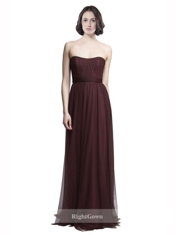 Cheap Strapless Long Tulle Purple Sleeveless Bridesmaid Dresses ...