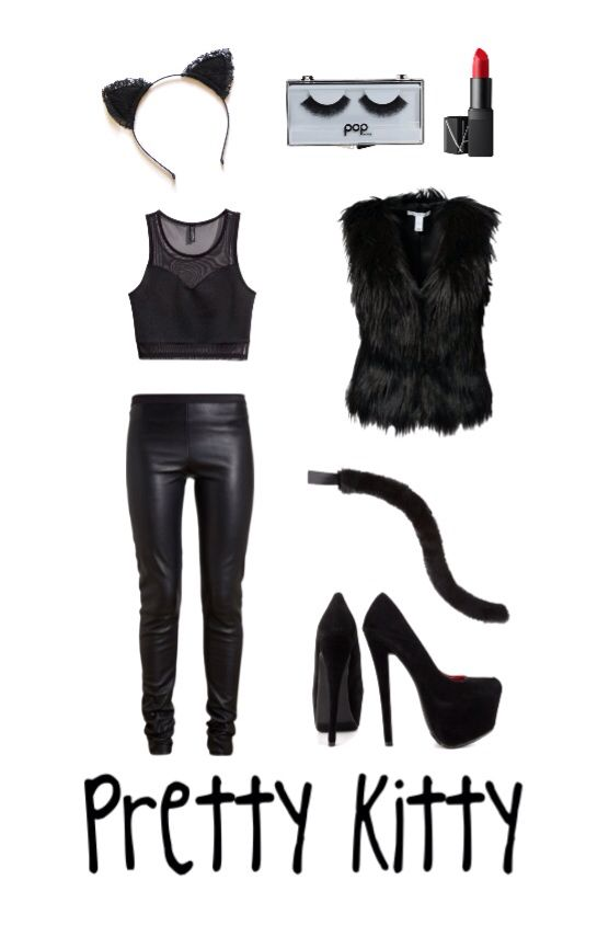 diy halloween costume cat costume leather pants cat ears black crop top - Cat Costume Ideas Halloween