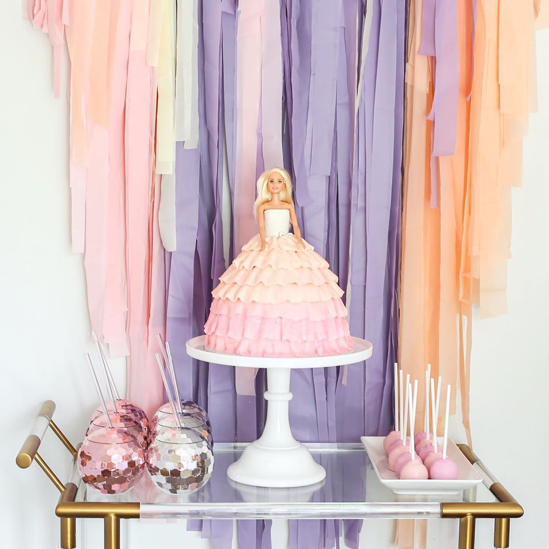 Barbie doll cake barbie birthday party fringe backdrops