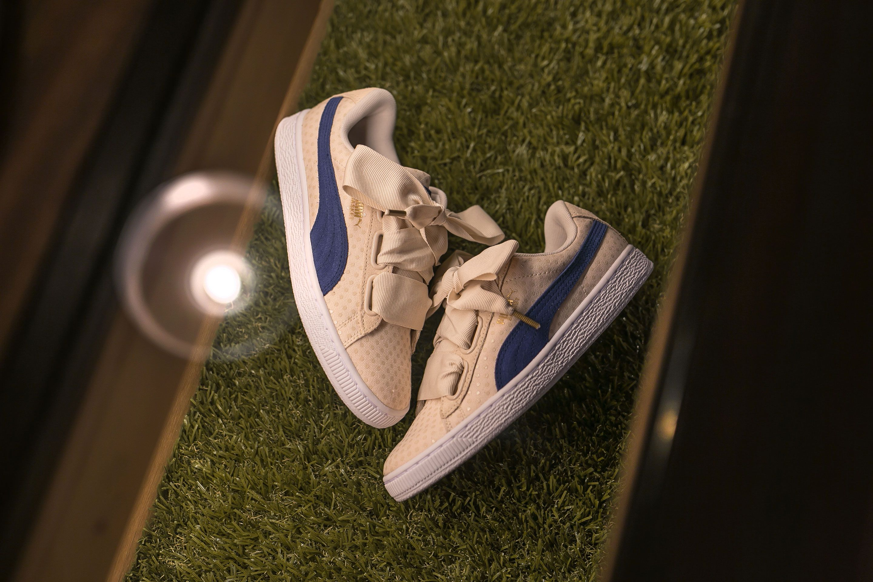 fd9524b63a77 High Time To Denim On Feet. - Puma Basket Heart Denim Women s Cream Navy.   puma  basket  heart  crossoverconceptstore